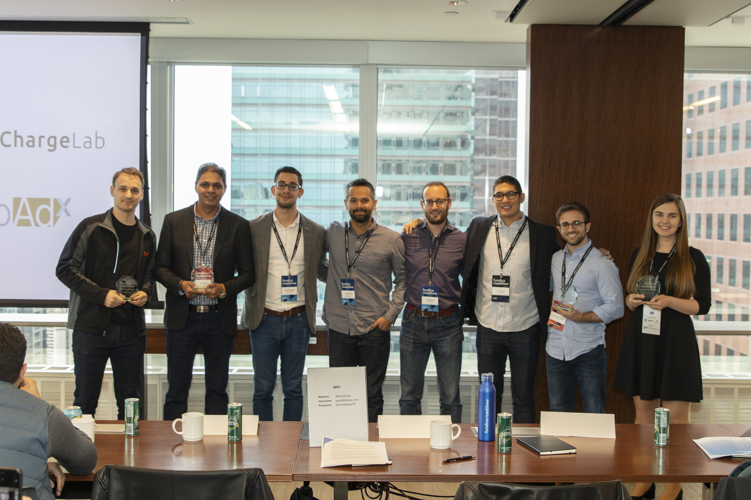Our Toronto city winners posing alongside the Fundica Roadshow investment partners. From left to right: Zachary Lefevre of ChargeLab, Amit Chauhan of JobAdx, George Korkejian of BCF Ventures, Prashant Matta of Panache Ventures, Alex Norman of AngelList, Alex Bramos of R&D Partners, Zack Fisch Rothbart of CoHealth, and Nataliia Tsok of Tryon.