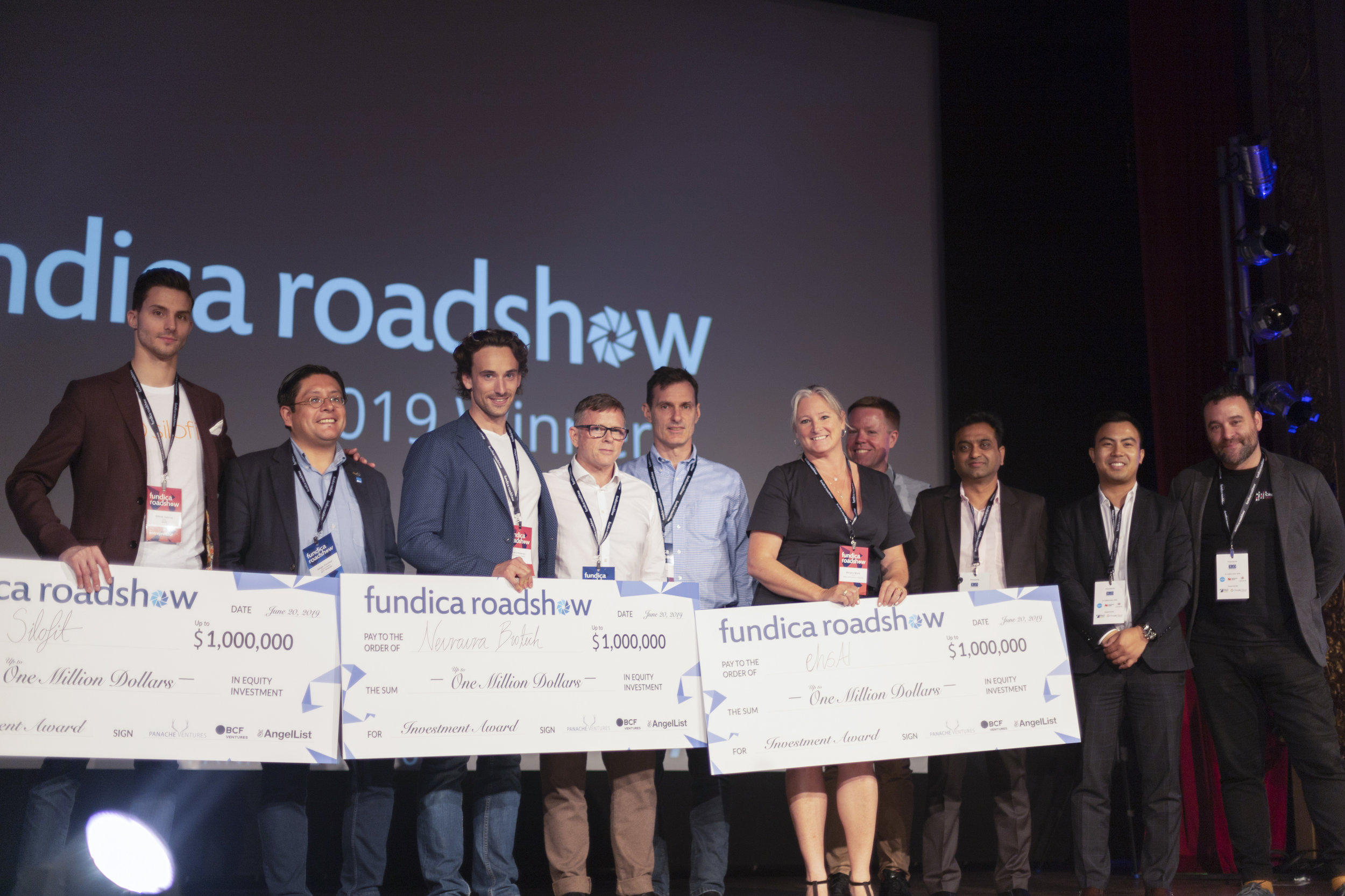 Our winners and investment partners. From left to right: Wilfred Valenta of Silofit, Sergio A. Escobar of BCF Ventures, Pierre Wijdenes of Neuraura, Jean-David Begin of AngelList, Mike Lee of Fundica, Margery Moore of ehsAI, Lee Carney of ehsAI, Nikhil Rodye of R&D Capital, Channt Chea of National Bank, and David Dufresne of Panache Ventures.