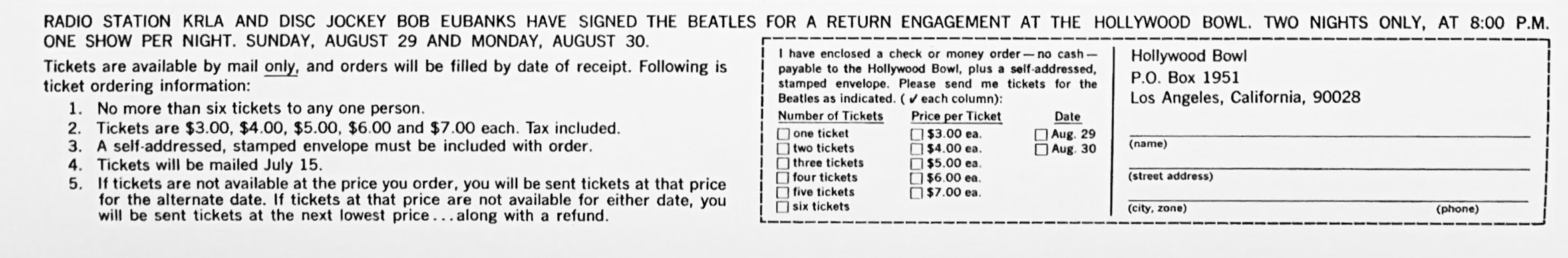 Lower portion of poster with form used by fans to order tickets to the 1965 Beatles concert at the Hollywood Bowl. Check out those prices!