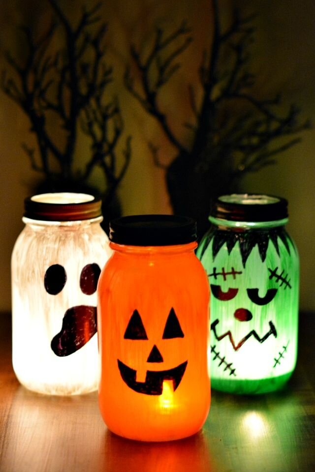Scary face lanterns made from jars from  Joelenes Crafting
