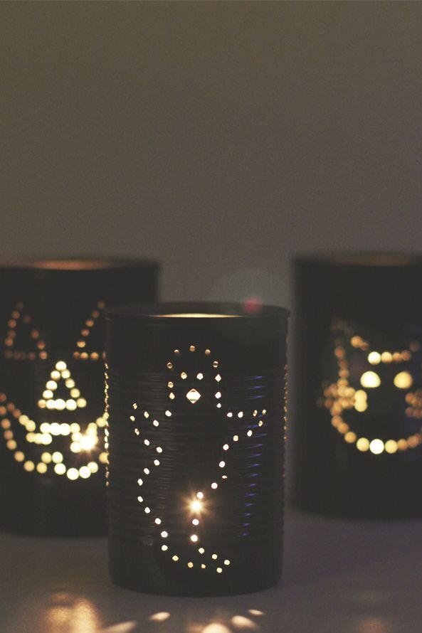 Spooky Tin Can Lanterns by  Paper Mama