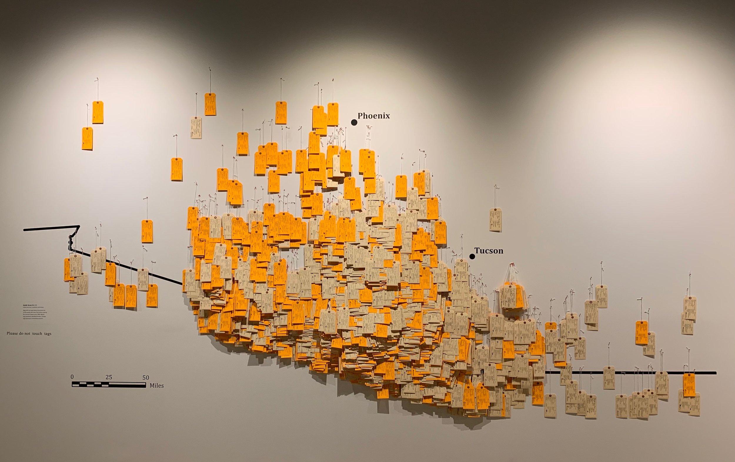 Figure 1.  Toe Tag Wall Prototype (Phillips Museum of Art, Franklin & Marshall College)