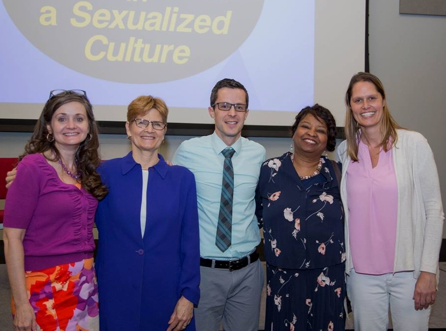 Lisa Thompson (Left), Lynn Walsh (Center left), Dr Timothy Rarick (Center), Dr Sandra Lowen (Center Right), and Melissa Holland (Right)