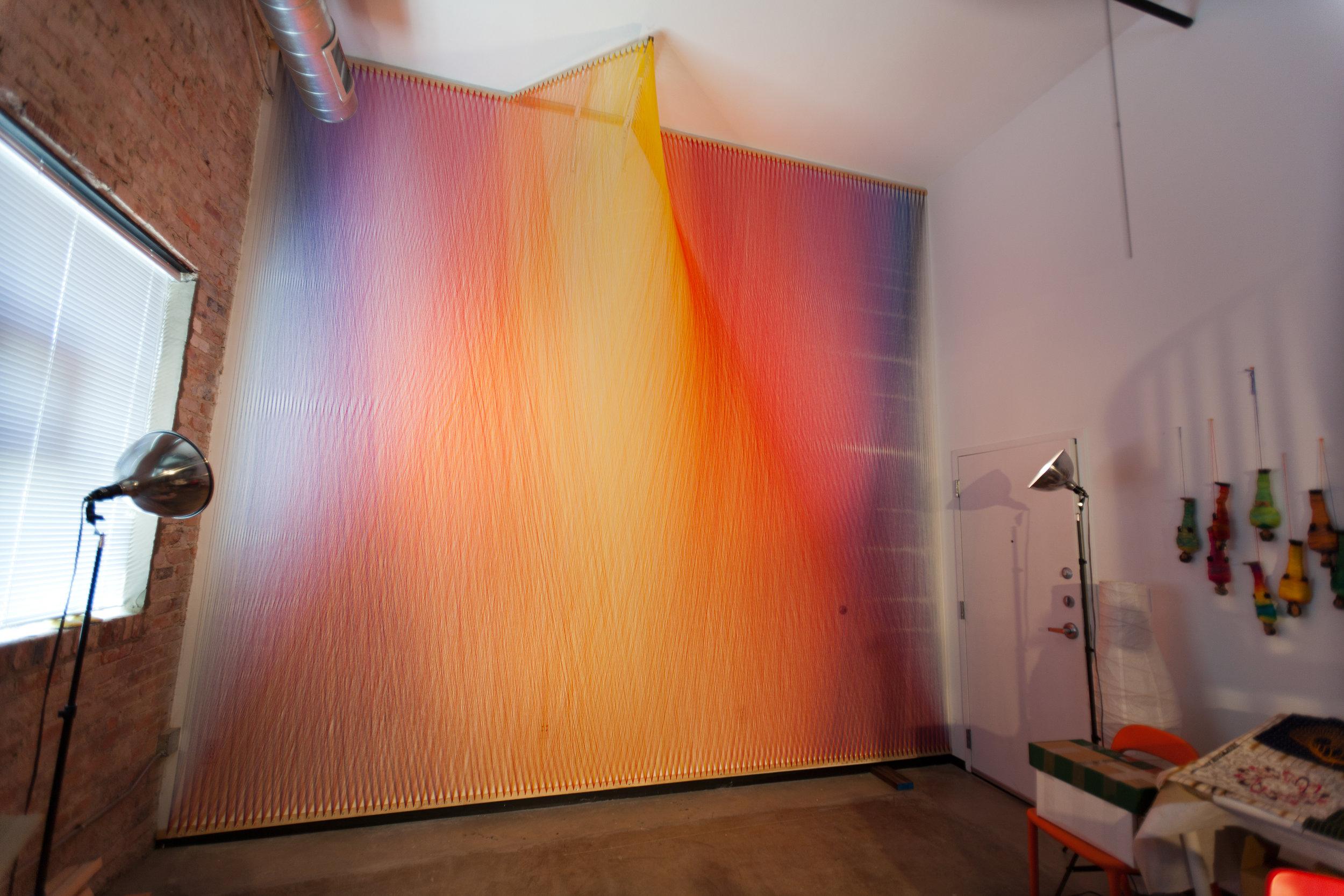 Plexus no. 1 + site-specific installation at Centraltrak, UT Dallas artist in residency program + thread, wood, and nails + 15' x 15' x 3' + 2010