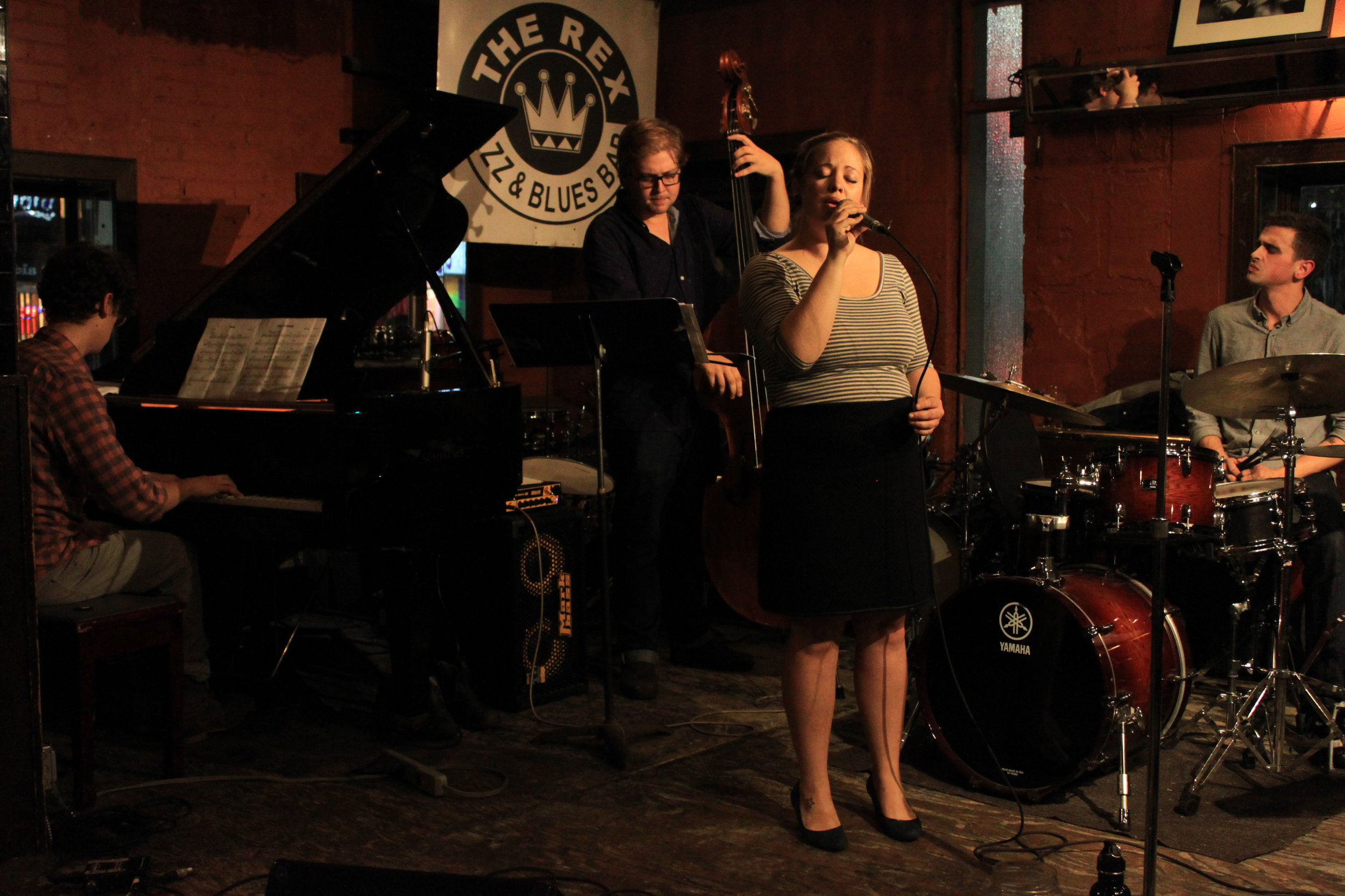 Photo by James Law. Laura Swankey Quartet (Chris Pruden, Victor Vrankulj, Laura Swankey, Andrew Miller) at the Rex Hotel, Toronto. January 2016.