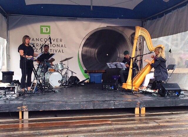 Photo by Tom Swankey. Elisa Thorn's Hue (Laura Swankey, Justin Devries, James Meger, Elisa Thorn) at Coastal Jazz Festival, Vancouver. June 2018.