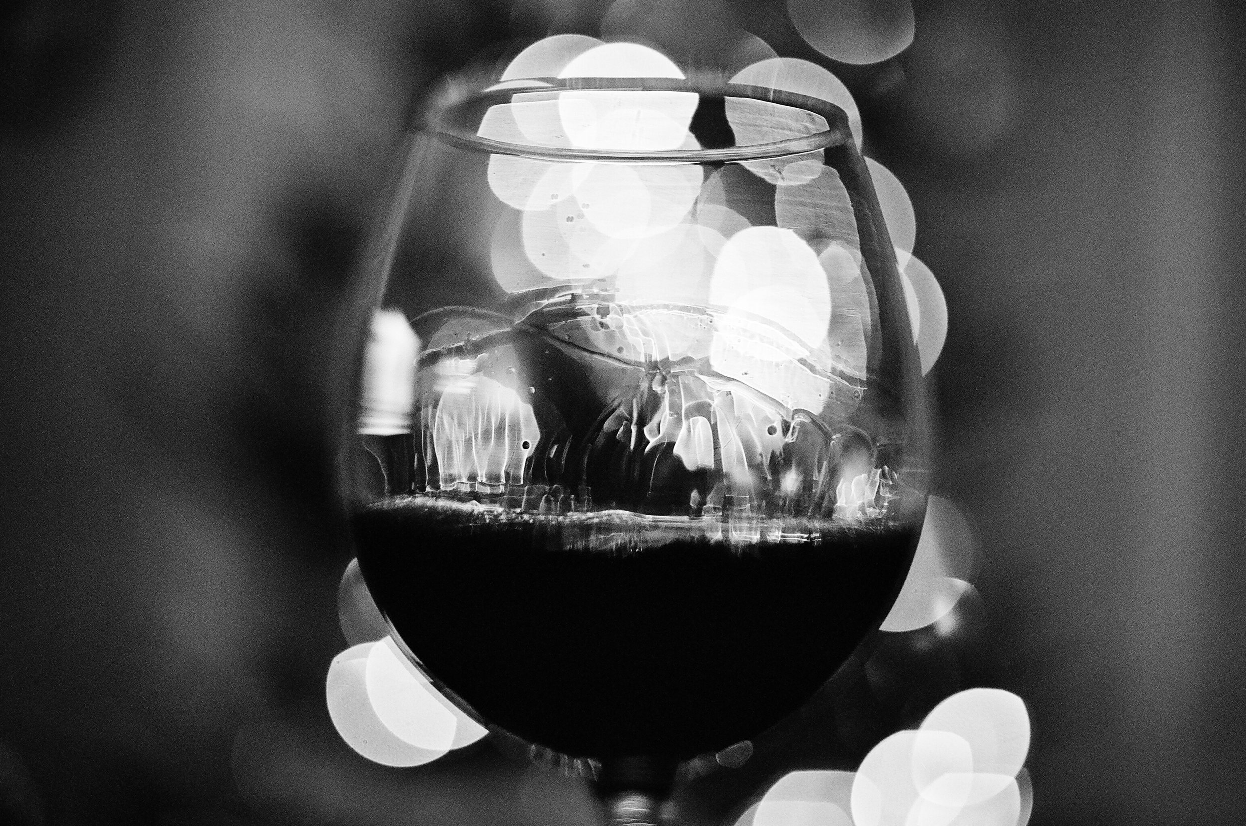 35mm photo of red wine and christmas lights