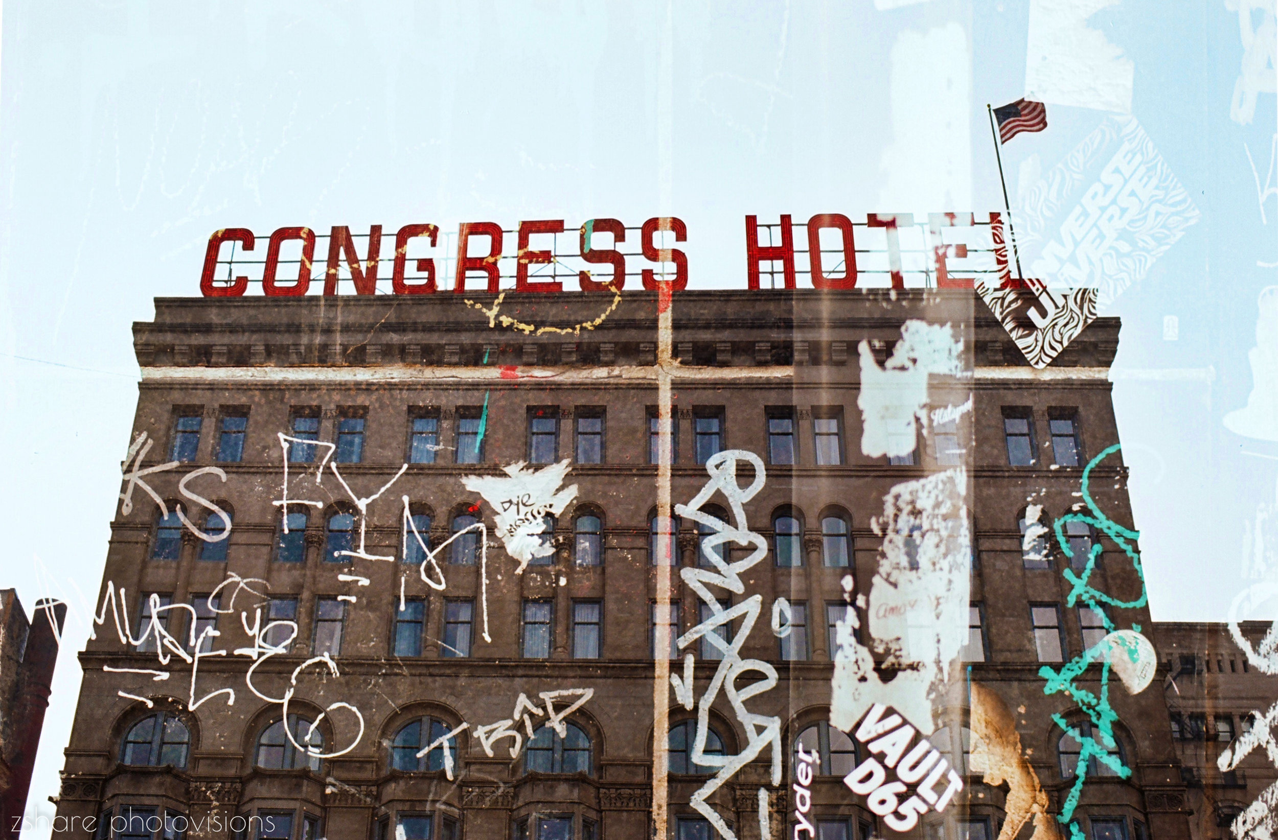 35mm film double exposure photo of the congress hotel in chicago by zshare photovisions .JPG