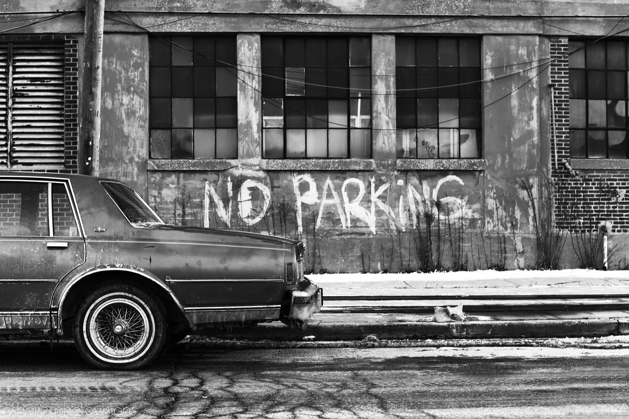 no parking chicago old car black and white street photo by zshare photovisions
