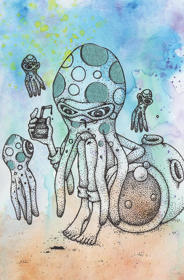 """Tako Tsubo (Octo Pod)  Watercolor, ink and glitter paper 5x7"""" 2014"""