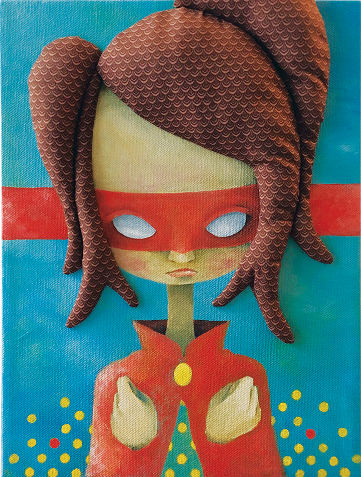 "Rock Girl  Acrylic, Fabric 8x10"" Canvas 2017"