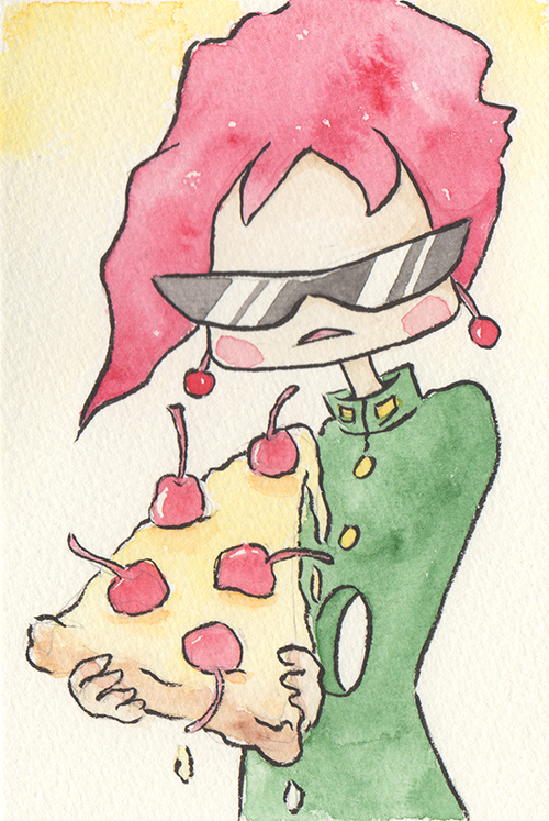 """Cherry Pizza  The words given to me were """"Kakyoin Noriaki"""" and """"Pizza.""""  2017"""