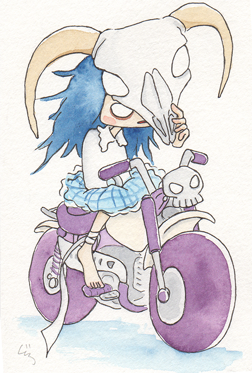 """Purple Motorcycle  The words given to me were """"Motorcycle"""" and """"Goat.""""  2017"""