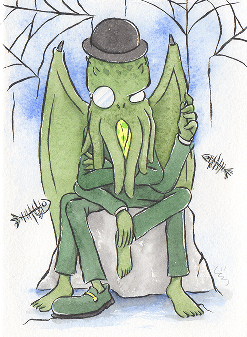 """Mr. Cthulhu  The words given to me were """"Cthulhu"""" and """"Spider.""""  2017"""