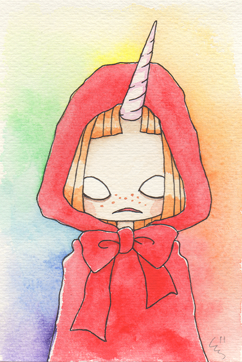 """Red Riding Unicorn  The words given to me were """"Red,"""" and """"Unicorn.""""  2017"""