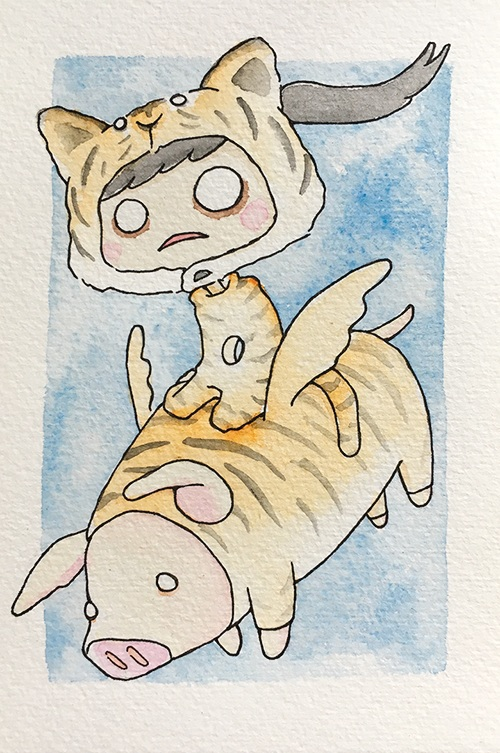 """Tiger Puggie  The words given to me were """"Puggie"""" and """"Tiger.""""  August 2017"""