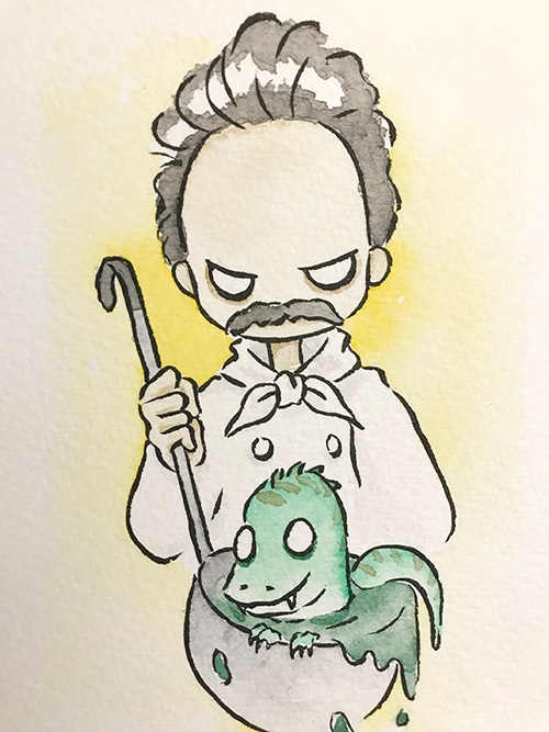 """The Soup of The Day  The words given to me were """"T-Rex"""" and """"The Soup Nazi.""""  October 2017"""