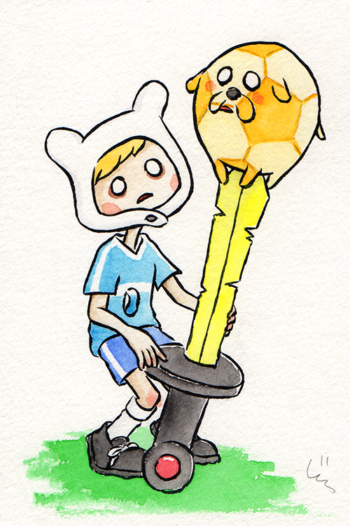 """Jake the Soccer Ball  The words given to me were """"Soccer"""" and """"Finn the Human.""""  January 2018"""