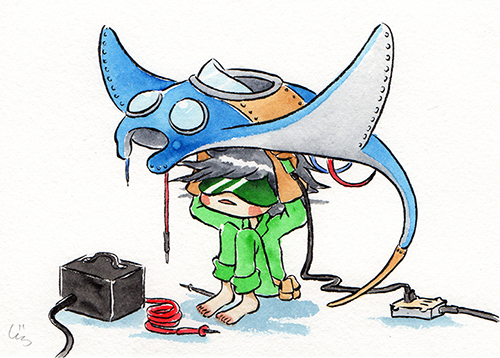 """Manta Plane  The words given to me were """"Manta Ray"""" and """"Fixing Electronics.""""  January 2018"""