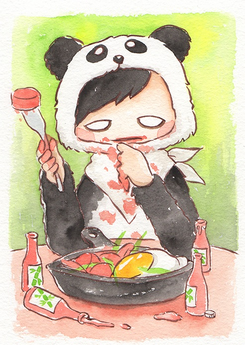 """Chorizo with Bamboo Oil  The words given to me were """"Panda"""" and """"Chorizo.""""  May 2018"""