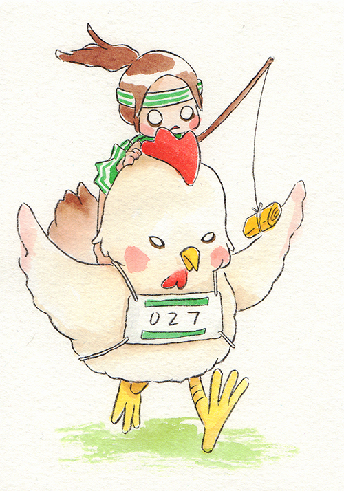 """Chicken Ruuuuuun!  The words given to me were """"Running (Far Distance)"""" and """"Japanese Fried Eggs.""""  February 2019"""