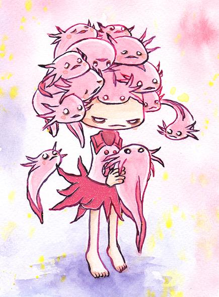 """Axolotl Head  Watercolor, ink and glitter paper 5x7"""" April, 2019"""