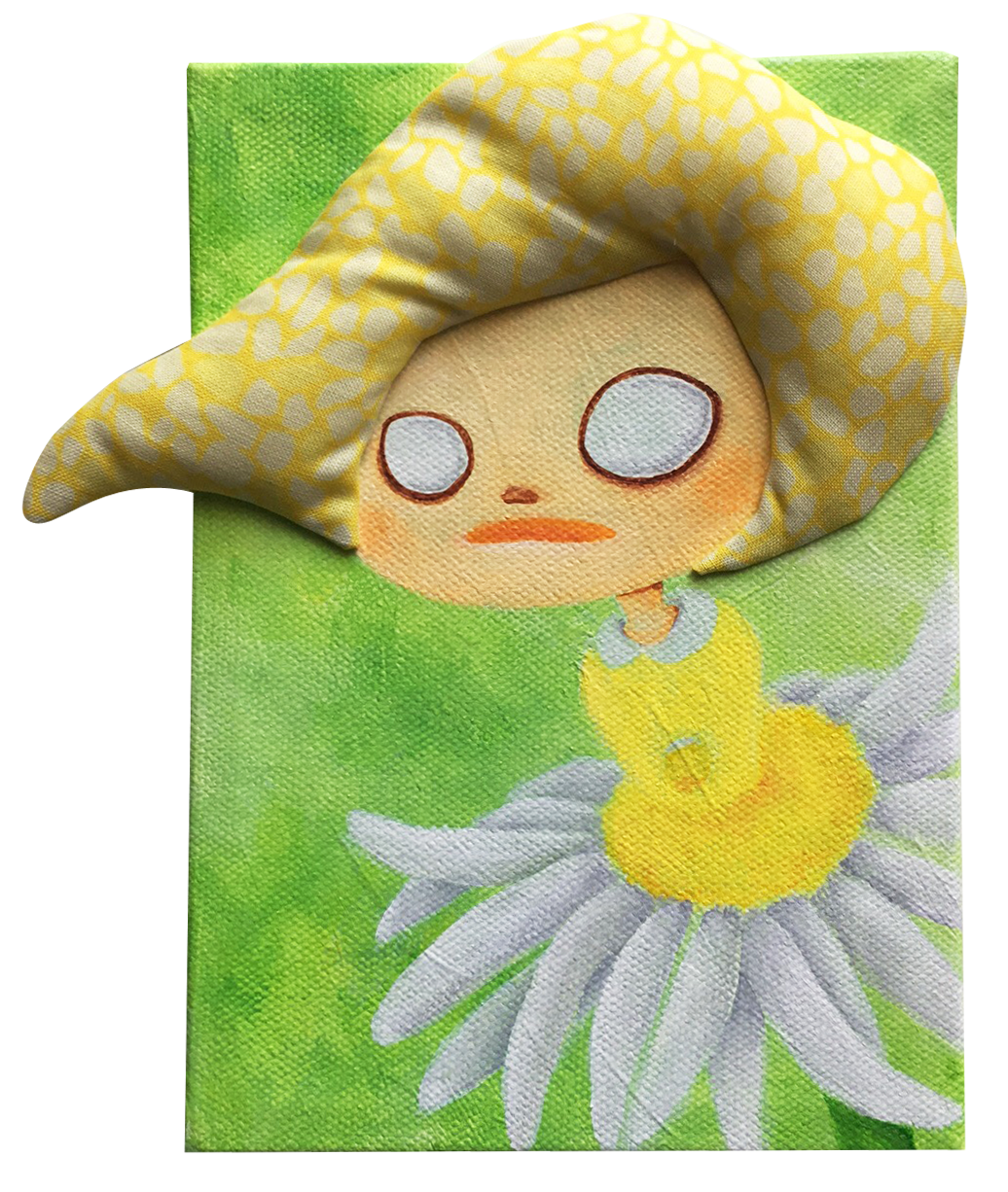"Daisy  Acrylic, Fabric 5x7"" Canvas 2017"