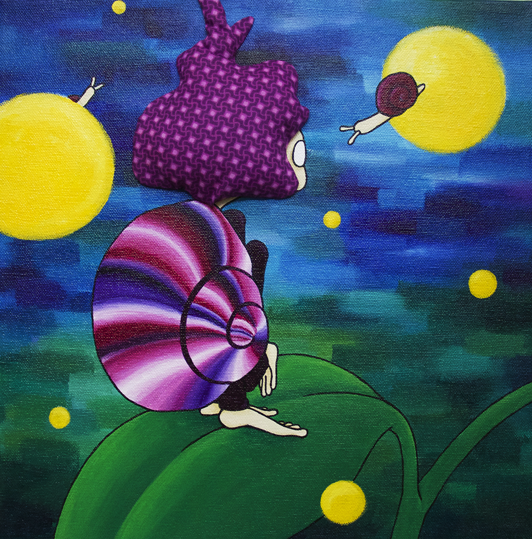 "Night  Acrylic, Fabric 8x8"" Canvas 2015"
