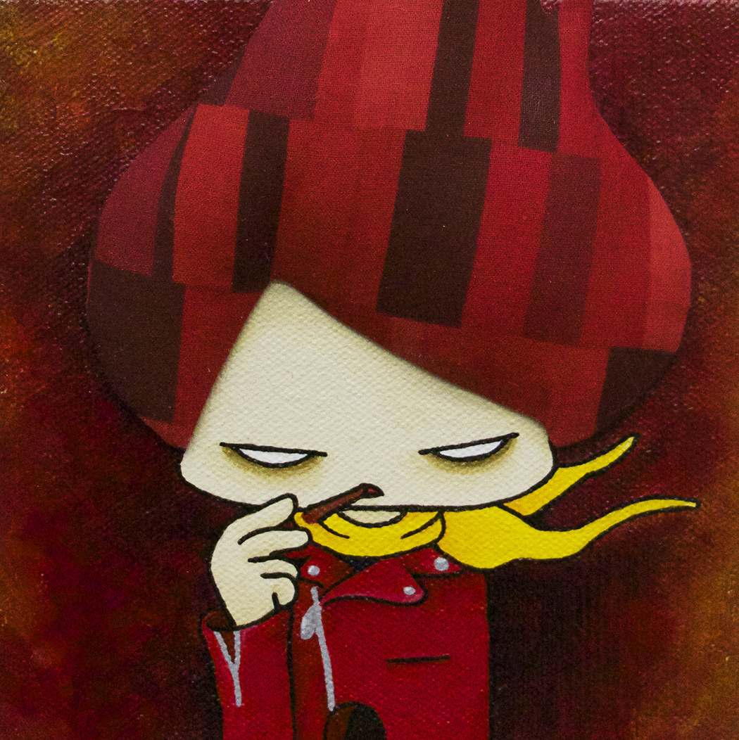 "Red Rider  Acrylic, Fabric 6x6"" Canvas 2015"