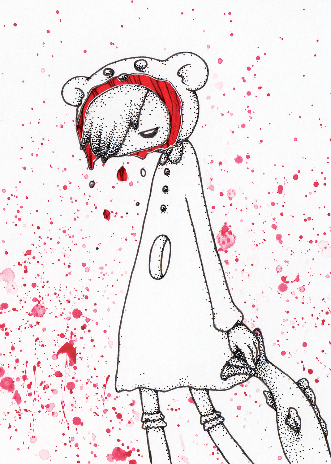 "Polar Bear Girl  Watercolor, ink and glitter paper 4x6"" 2014"