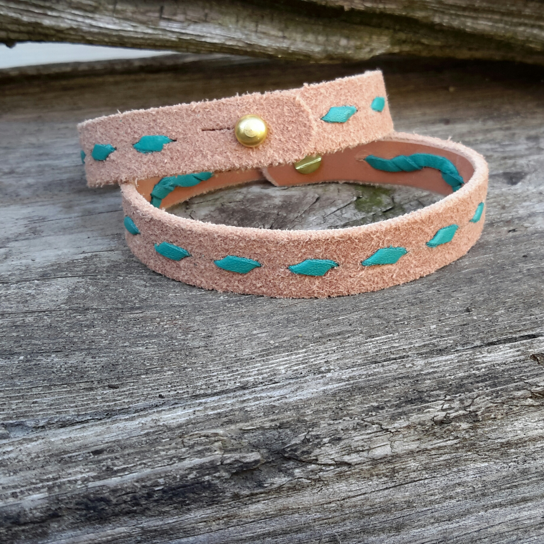 Handmade Leather Buckstitch Bracelets