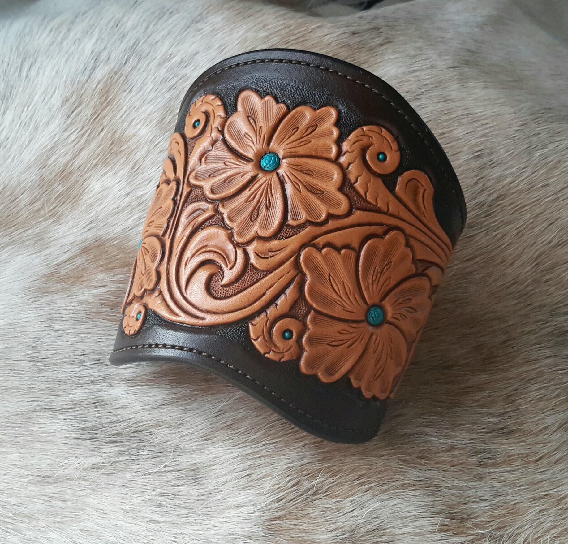 Hand Tooled Leather Cuff Finish