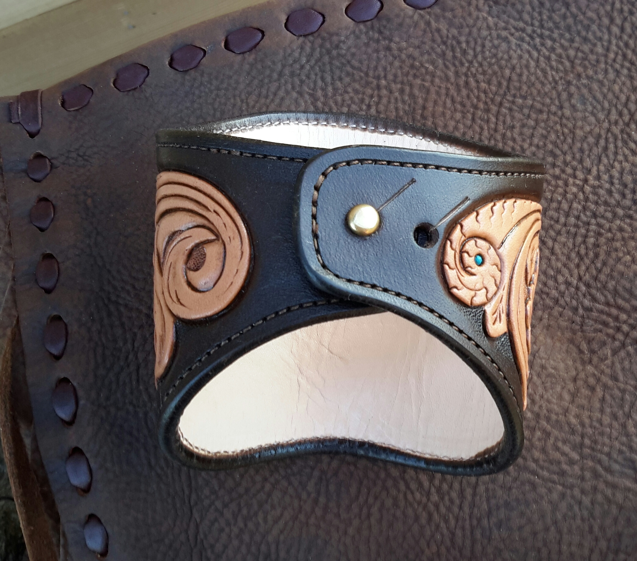 Hand Tooled Leather Cuff - Back