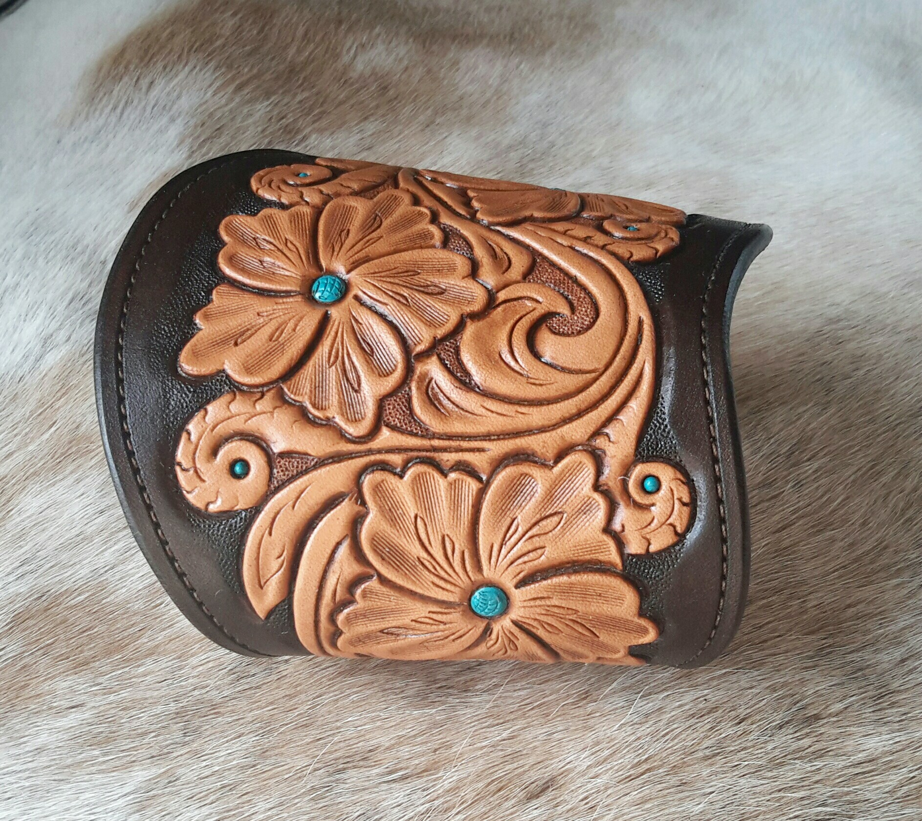 Hand Tooled Leather Cuff - Right