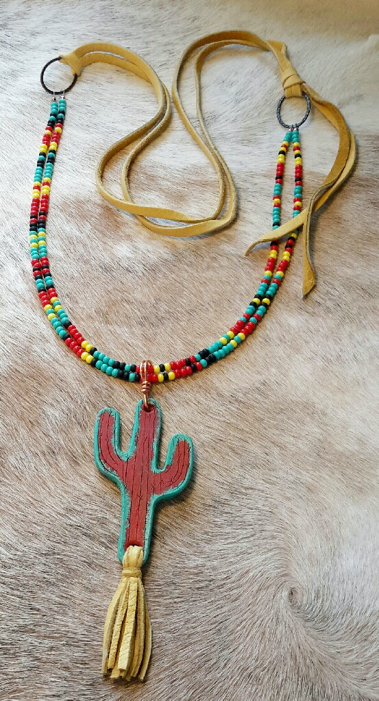 Hand Tooled Leather Cactus Necklace