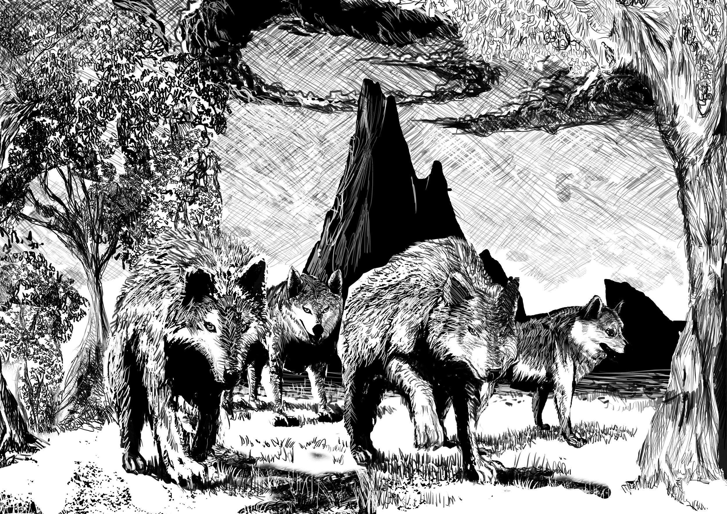 Concept art of Annabeth, Rhydian, Seth, and Mason as wolves
