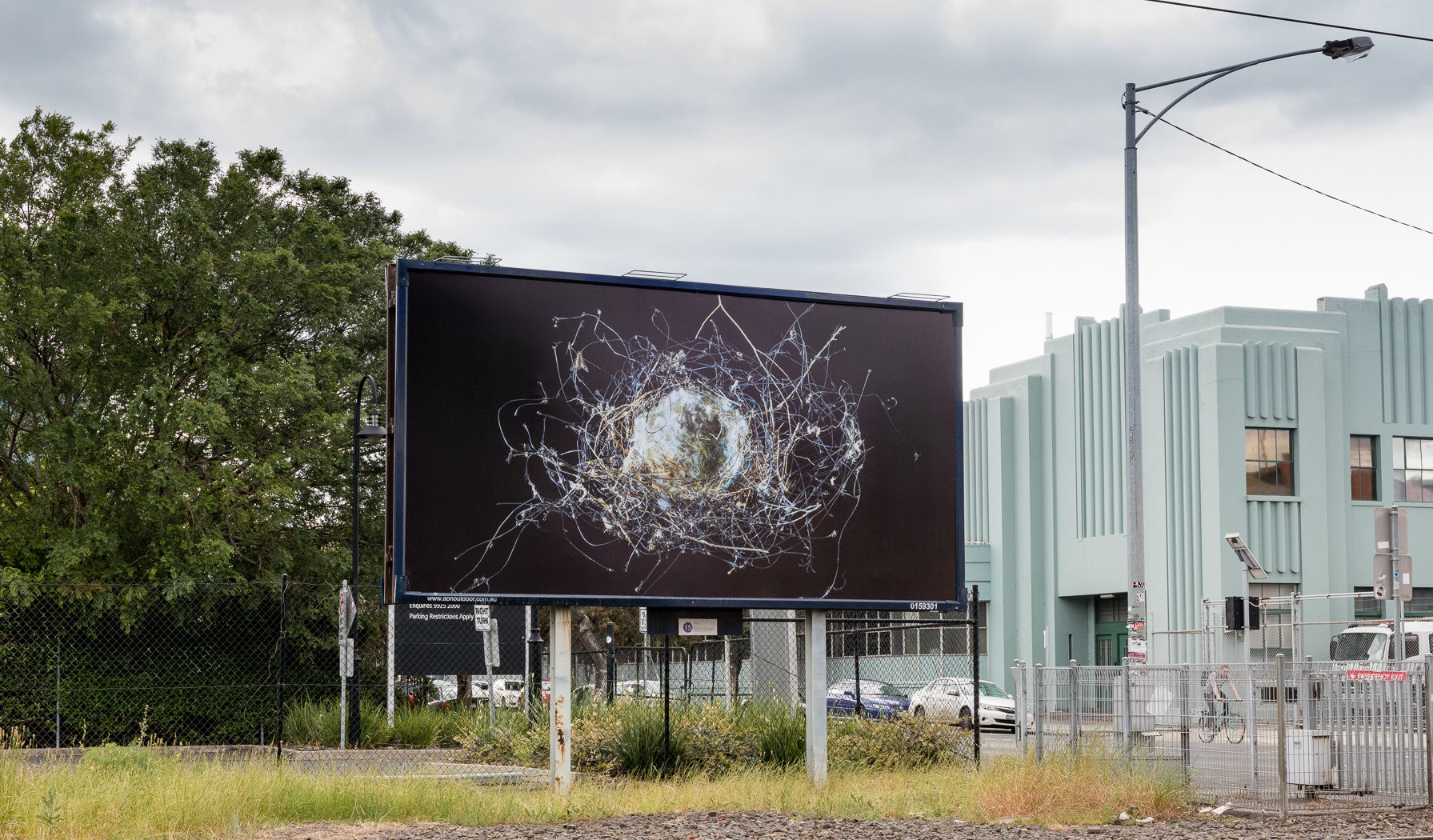 Found bird's nest of plastic netting and other unnatural fibres ,  2016   Detail on billboard, MoreArt festival, 2016. Dawson St, Brunswick, Melbourne. Displayed for 6 months from October 2016-May 2017