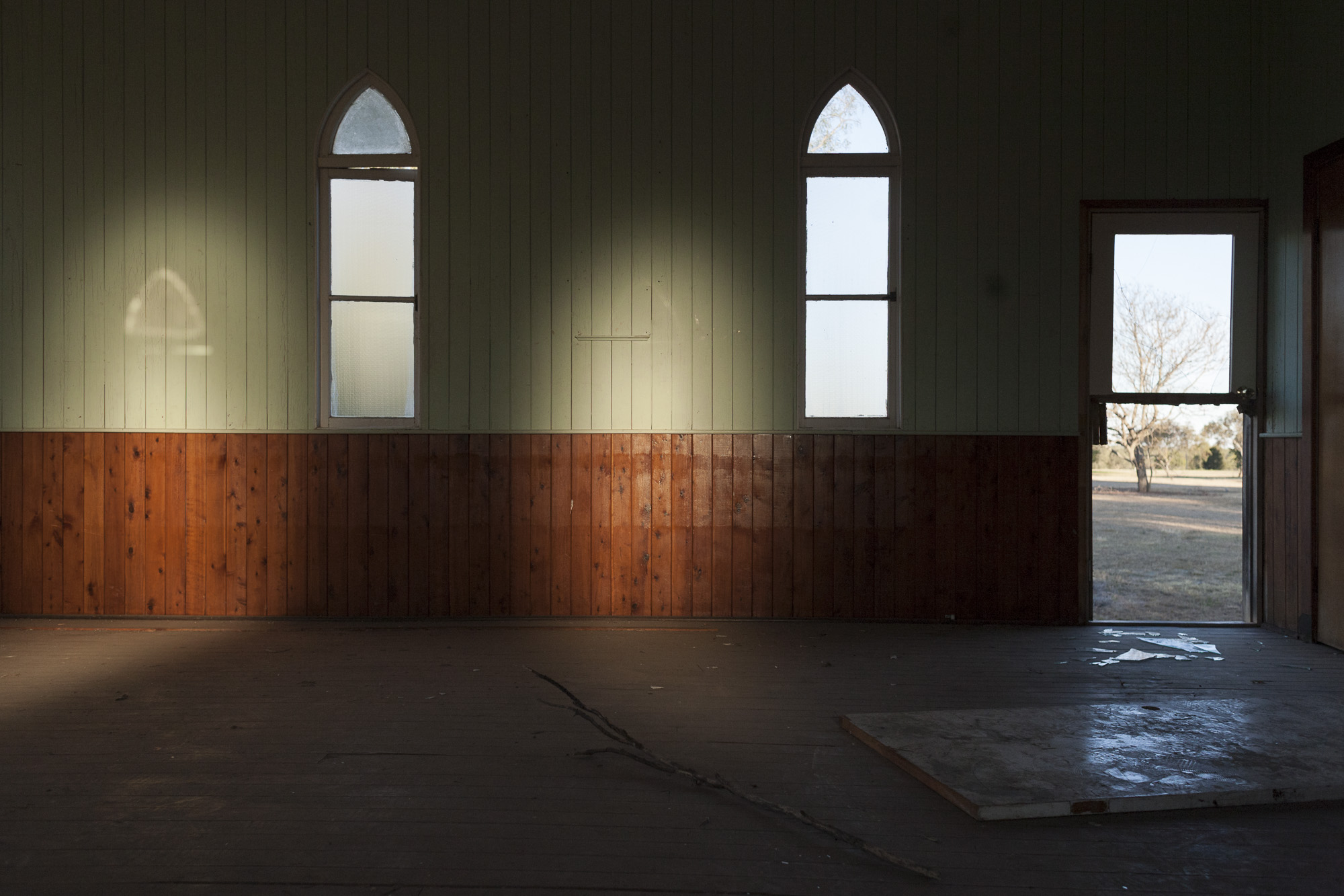 Church in a town erased (to expand a mine) , 2011  57x100cm, Pigment print on platine fibre paper