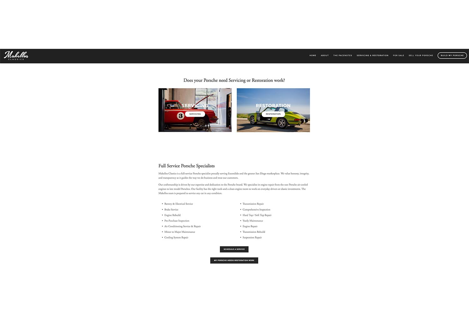 The New Servicing and Restoration Page