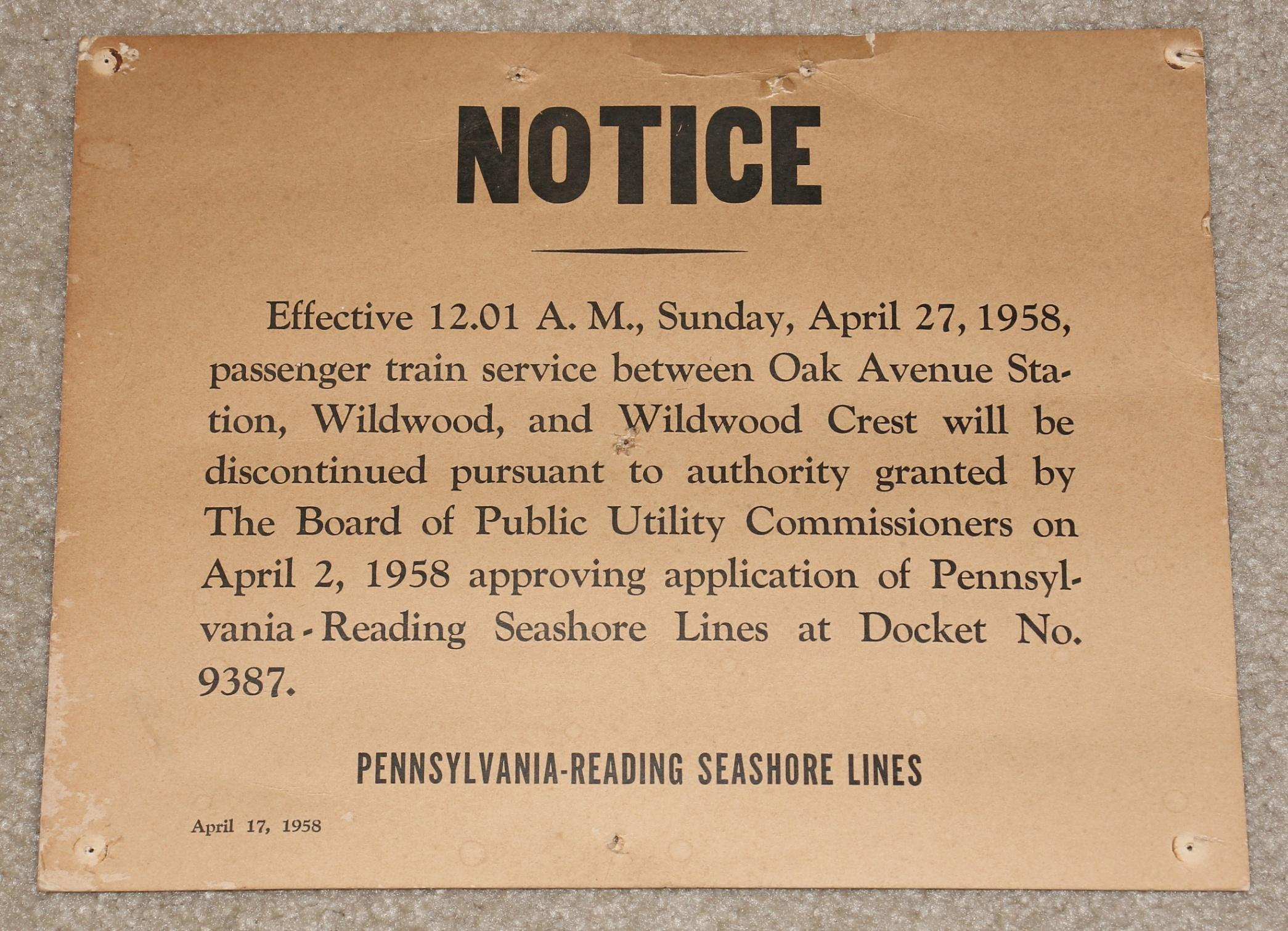 Another of our historically interesting notices.