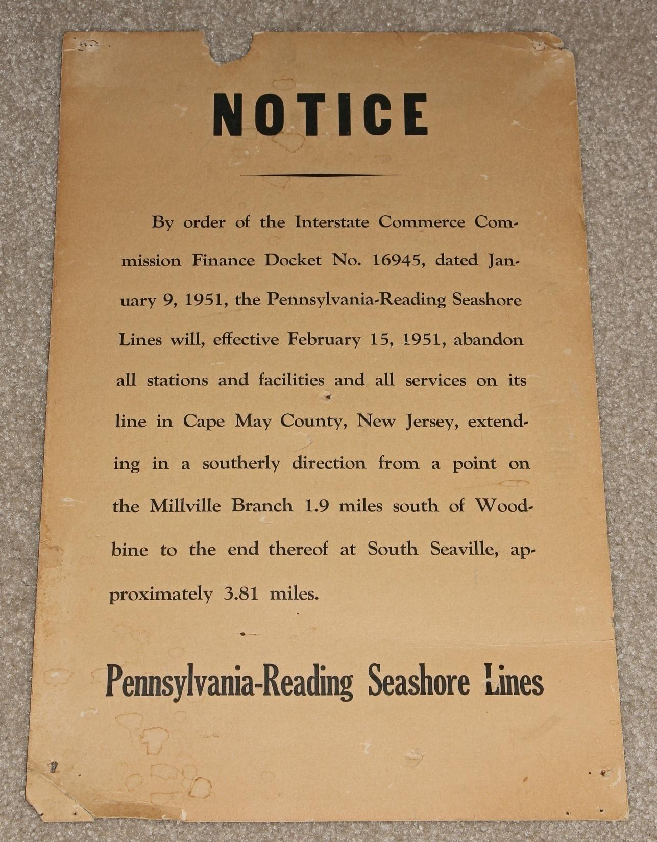 This notice advises of abandonment of the line to Seaville.