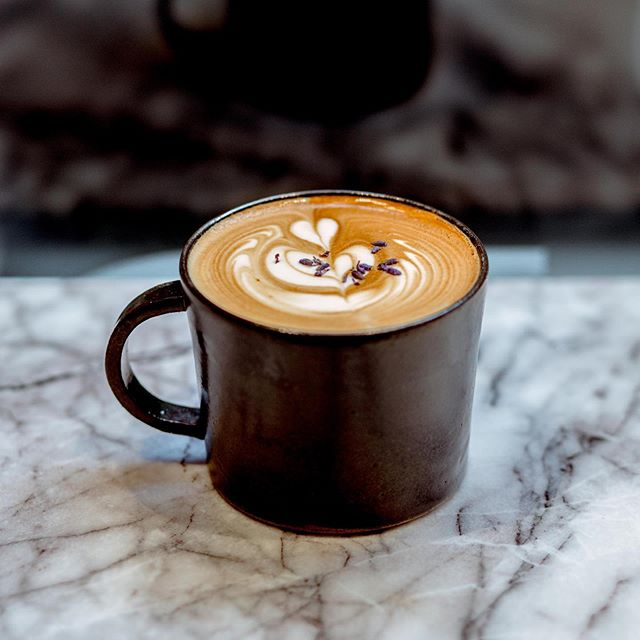 LAVENDER OAT LATTE  House infused, our lavender oat latte is a perfect pick-me-up for colder NYC days. Offered throughout the day, stop by for a little love in your coffee.  #marbledessertbar #pickmeup #latte #latteart #counterculture #nyccoffee #oatmilk #vegan
