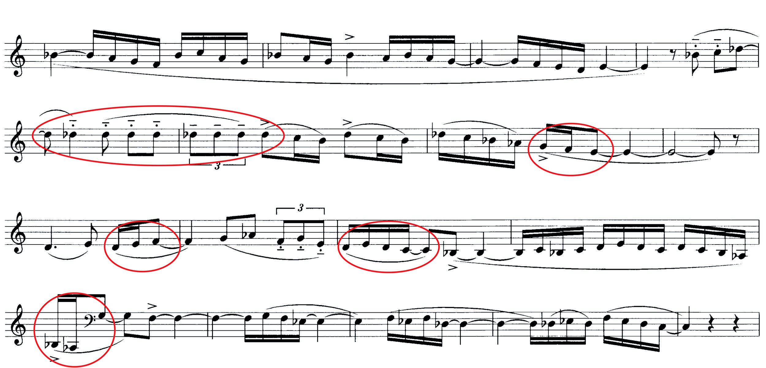 Abbildung 2: Die zweite Melodie des Boléro (B); markiert sind die Stellen, welche in Ravels Aufnahme meist mit Tempo Rubato gestaltet werden.