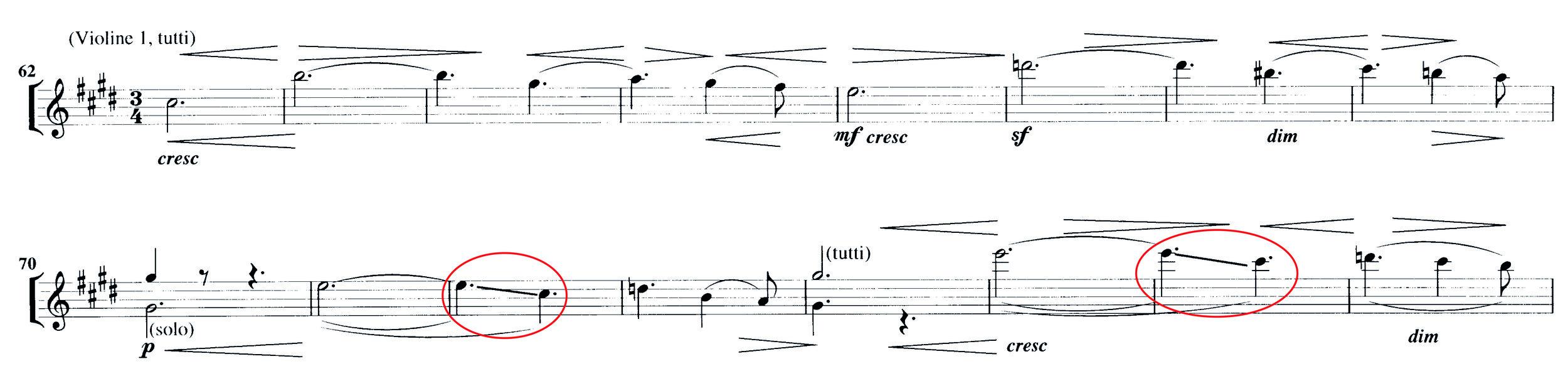 Abbildung 3: Elgar, Serenade op. 20, 1. Satz, T. 62 bis 77. Oberhalb des Systems: Norringtons realisierte Dynamik und Bogeneinteilung, unterhalb die original gedruckte und in Elgars Aufnahme realisierte Bezeichnungen.