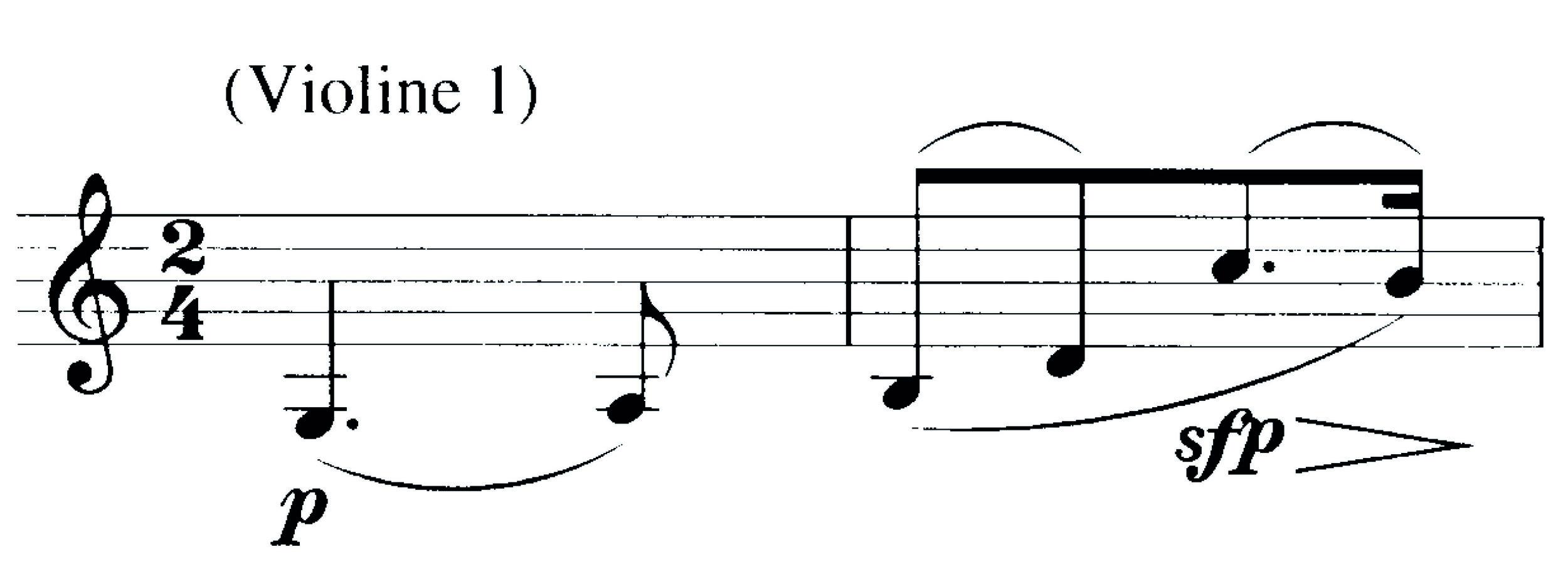 Abbildung 4: Elgar, Serenade op. 20, 2. Satz. 2-taktiges Motiv (1. Violine, T. 1/2), oben Norringtons Bogeneinteilung, unten das Original