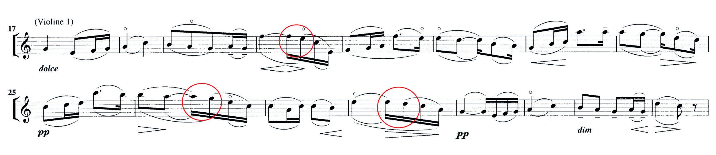 Abbildung 5: Elgar, Serenade op. 20, 2. Satz, T. 17-32. Oberhalb des Systemes: Norringtons Bogeneinteilung, unten das Original.