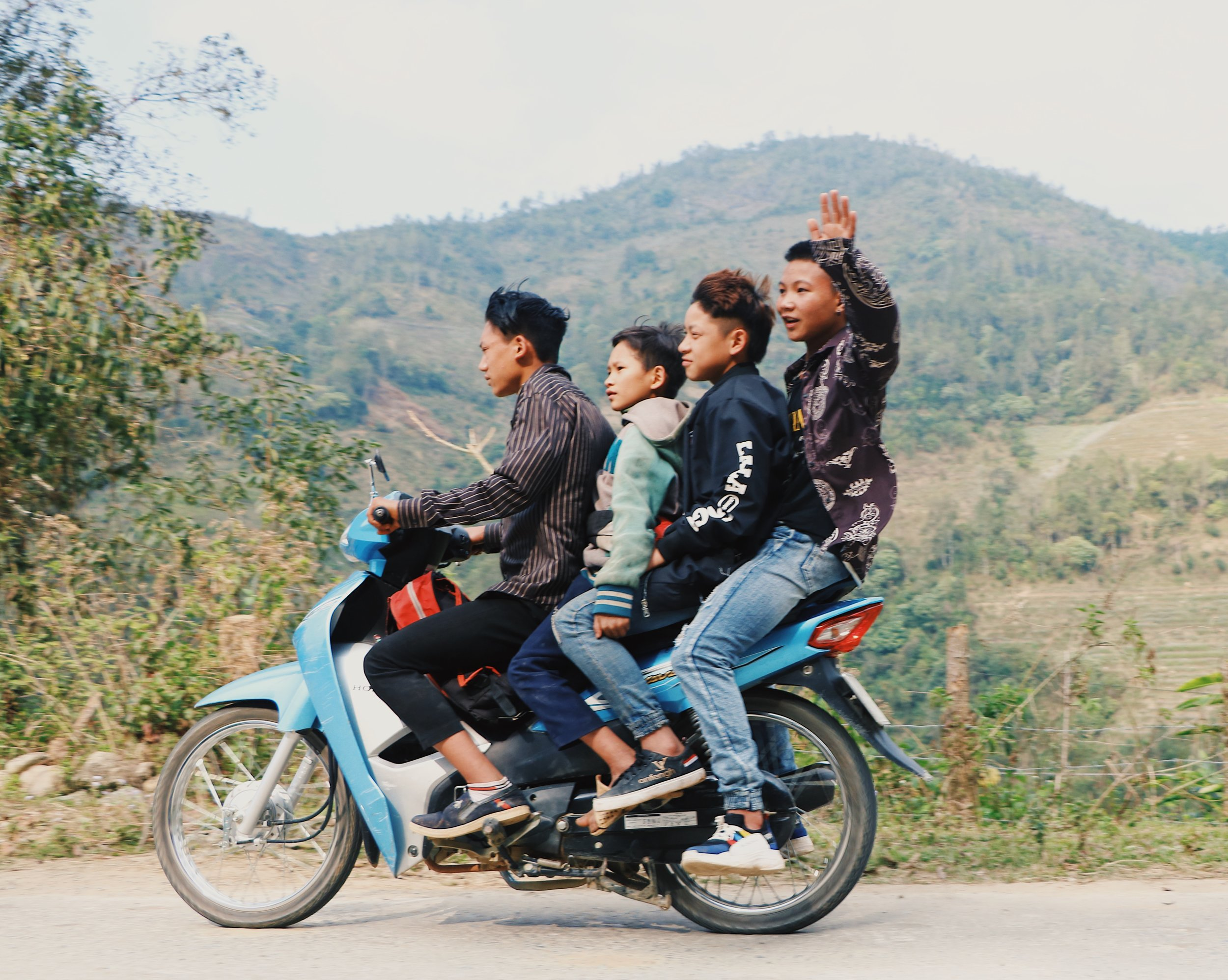 A typical sight throughout Vietnam, these motor bikes can carry anywhere from one to six people.