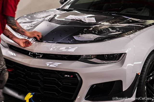 ZL1 1LE Xpel Ultimate Plus paint protection film on entire nose. Xpel Stealth film on matte hood. #camaro #zl1camaro #zl11le #detailersofinstagram #xpel #xpelstealth #xpelultimate #opticoat #opticoatproplus #opticoatpro #chevycamarozl1 #bostondetailing #bostonexclusive