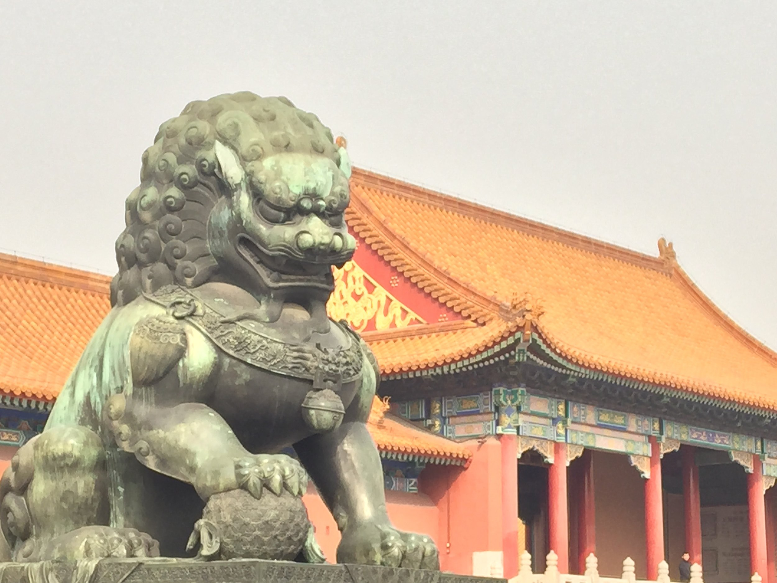 The main entrance to the central palace complex and the famous stone lion