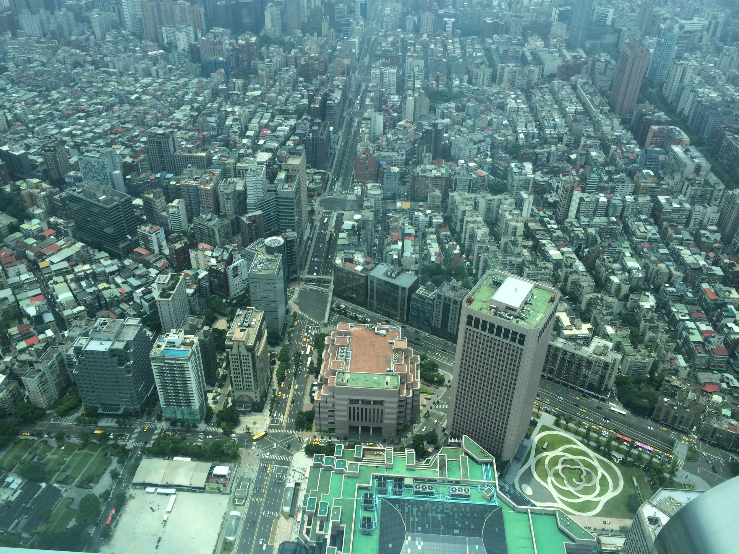 Looking down from the viewing deck of Taipei 101, a corner of Taipei, Taiwan